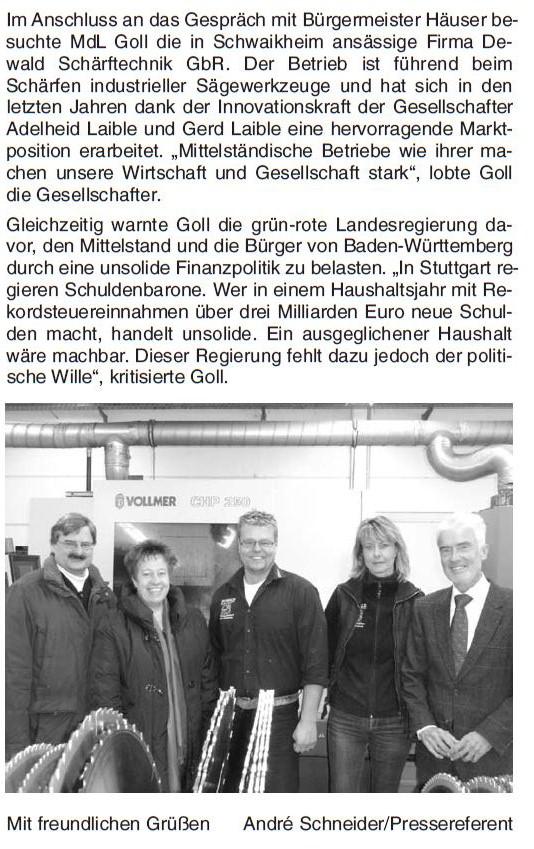 Zeitungsartikel zum Besuch des Bundesjustizminister Prof. Dr. Goll am 07.12.2012 (FDP)